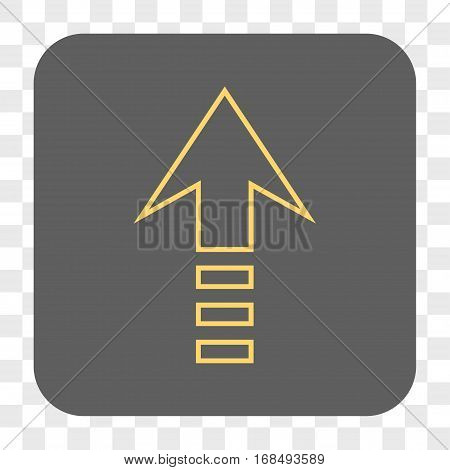Send Up interface toolbar button. Vector icon style is a flat symbol in a rounded square button yellow and gray colors chess transparent background.