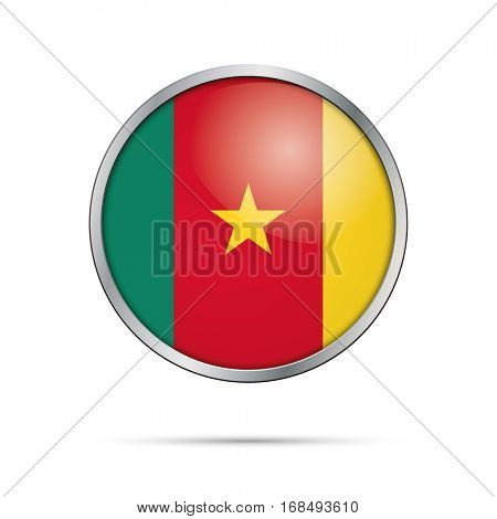 Vector Cameroonian flag button. Cameroon flag glass button style with metal frame.