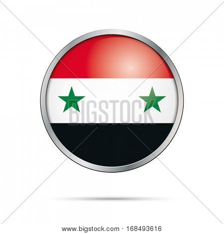 Vector Syrian flag button. Syria flag glass button style with metal frame.