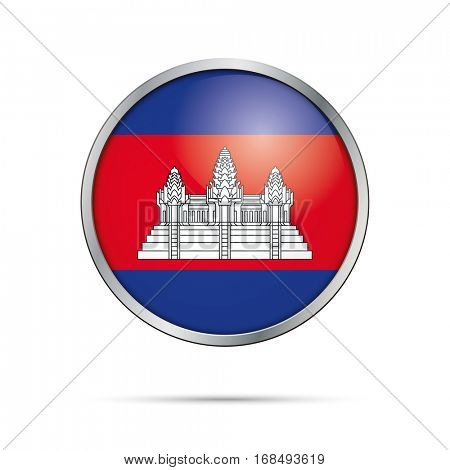 Vector Cambodian flag button. Cambodia flag glass button style with metal frame.