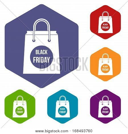 Black Friday shopping bag icons set rhombus in different colors isolated on white background