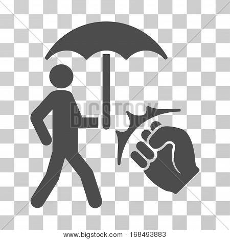 Crime Coverage icon. Vector illustration style is flat iconic symbol, gray color, transparent background. Designed for web and software interfaces.