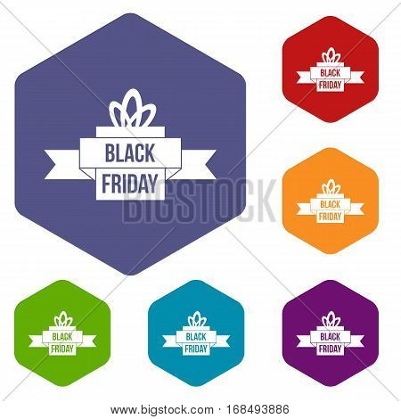 Black friday ribbon icons set rhombus in different colors isolated on white background