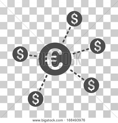 Currency Network Nodes icon. Vector illustration style is flat iconic symbol, gray color, transparent background. Designed for web and software interfaces.