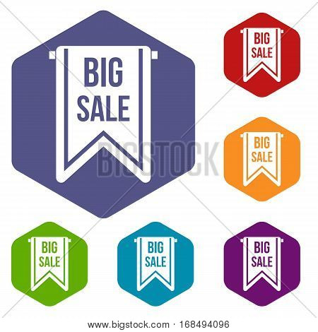 Big sale banner icons set rhombus in different colors isolated on white background