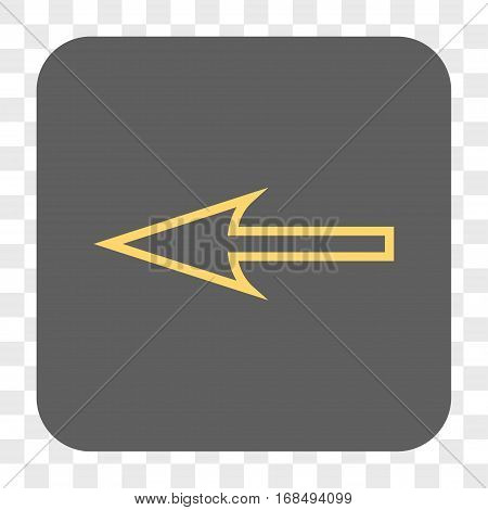 Sharp Arrow Left interface toolbar button. Vector icon style is a flat symbol on a rounded square button yellow and gray colors chess transparent background.