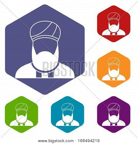 Muslim preacher icons set rhombus in different colors isolated on white background