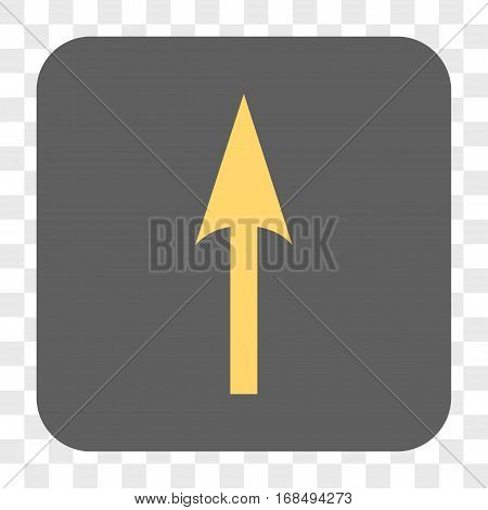 Sharp Arrow Up interface toolbar button. Vector icon style is a flat symbol on a rounded square button yellow and gray colors chess transparent background.