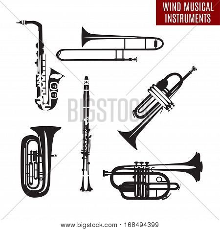 Vector set of black and white wind musical instruments in flat design. Saxophone clarinet trumpet trombone tuba isolated on white background. Woodwind and brass musical instruments.