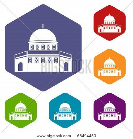 Dome of the Rock on the Temple Mount icons set rhombus in different colors isolated on white background