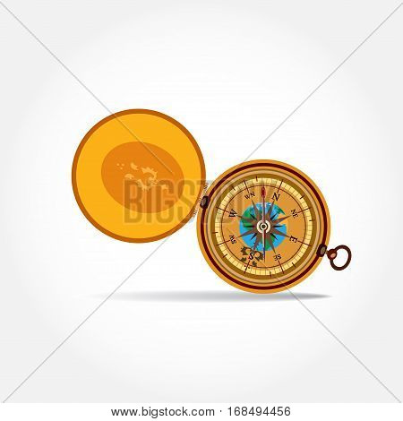 Vector illustration of magnetic portable compass in flat style.