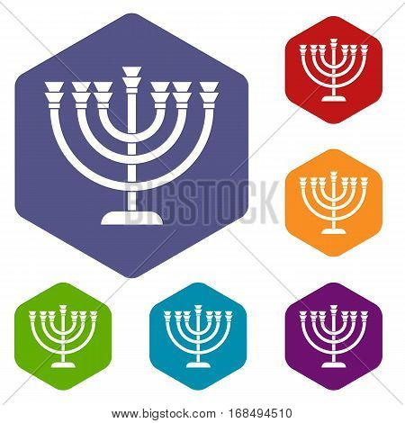 Menorah icons set rhombus in different colors isolated on white background