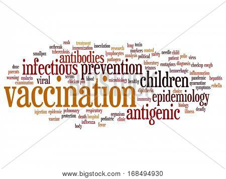 Concept or conceptual children vaccination or viral prevention abstract word cloud isolated on background metaphor to infectious antigenic, antibodies, epidemiology immunization or inoculation