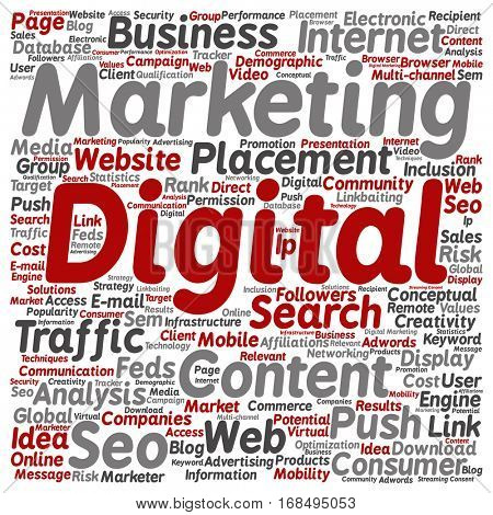 Concept or conceptual digital marketing seo or traffic square word cloud isolated on background metaphor to business, market, content, search, web, push, placement, communication or technology