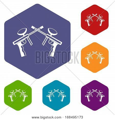 Paintball guns icons set rhombus in different colors isolated on white background