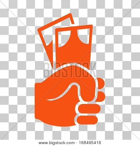 Banknotes Salary Hand icon. Vector illustration style is flat iconic symbol, orange color, transparent background. Designed for web and software interfaces.