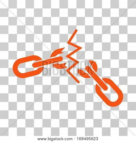 Broken Chain icon. Vector illustration style is flat iconic symbol, orange color, transparent background. Designed for web and software interfaces.