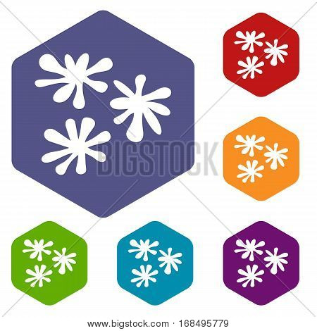 Paintball blob icons set rhombus in different colors isolated on white background