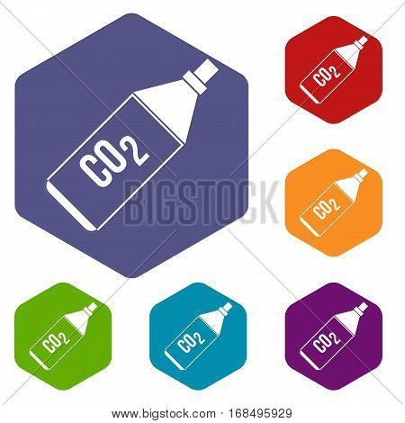 CO2 bottle icons set rhombus in different colors isolated on white background