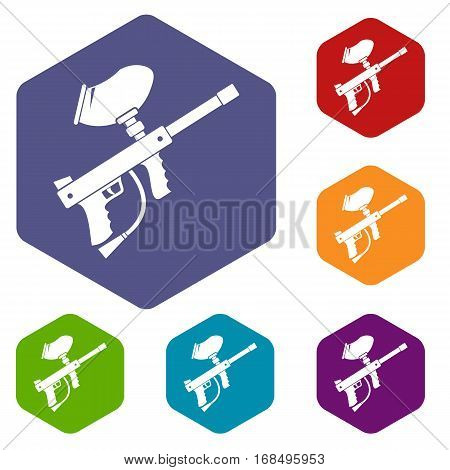 Paintball marker icons set rhombus in different colors isolated on white background