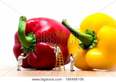 Miniature Painters coloring bell pepper. Macro photo.