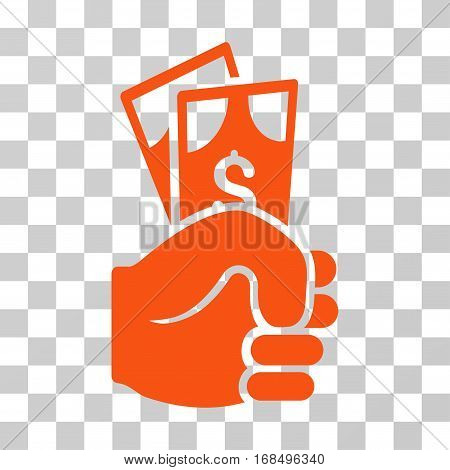 Dollar Banknotes Salary icon. Vector illustration style is flat iconic symbol, orange color, transparent background. Designed for web and software interfaces.