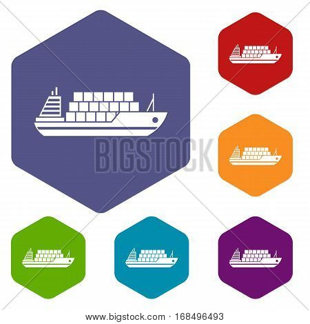 Cargo ship icons set rhombus in different colors isolated on white background