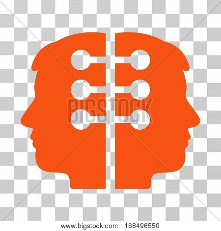 Dual Head Interface icon. Vector illustration style is flat iconic symbol, orange color, transparent background. Designed for web and software interfaces.