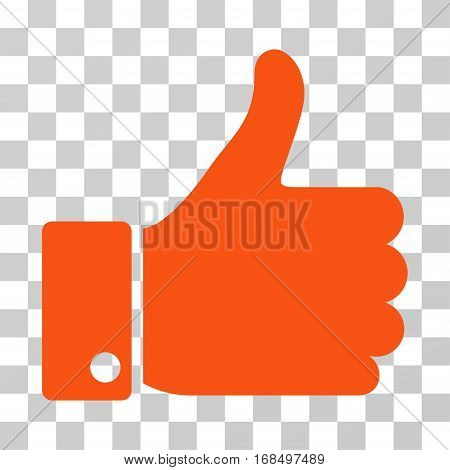 Thumb Up icon. Vector illustration style is flat iconic symbol, orange color, transparent background. Designed for web and software interfaces.