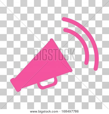 Announce Horn icon. Vector illustration style is flat iconic symbol, pink color, transparent background. Designed for web and software interfaces.