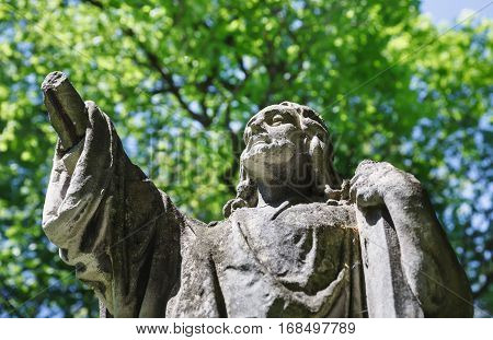 Old Statue On Grave In Lviv