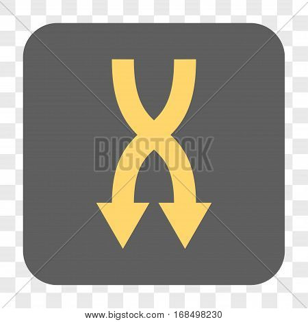 Shuffle Arrows Down interface toolbar button. Vector icon style is a flat symbol inside a rounded square button yellow and gray colors chess transparent background.