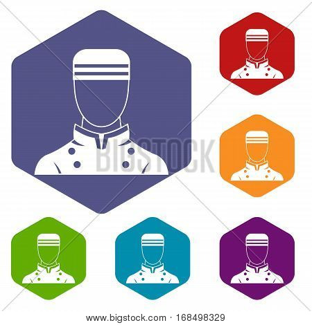 Doorman icons set rhombus in different colors isolated on white background