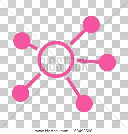 Connections icon. Vector illustration style is flat iconic symbol, pink color, transparent background. Designed for web and software interfaces.