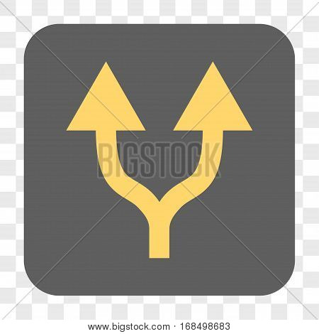 Split Arrows Up interface toolbar button. Vector icon style is a flat symbol on a rounded square button yellow and gray colors chess transparent background.