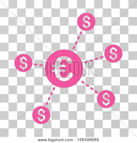 Currency Network Nodes icon. Vector illustration style is flat iconic symbol, pink color, transparent background. Designed for web and software interfaces.