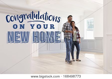 Congratulations On Your New Home. Couple Moving In