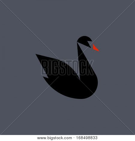 Black swan flat style vector logo template