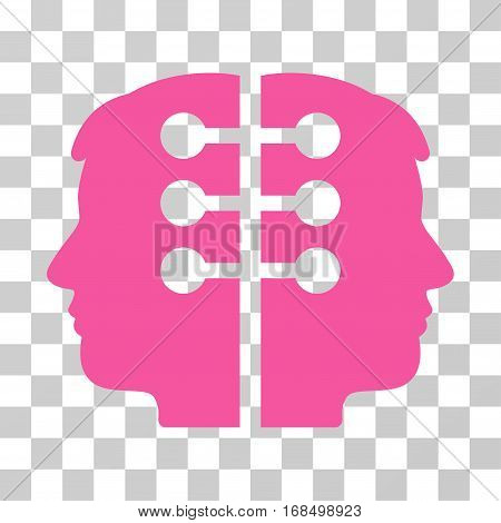 Dual Head Interface icon. Vector illustration style is flat iconic symbol, pink color, transparent background. Designed for web and software interfaces.