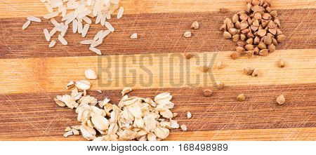 cereals on a wooden background it is very useful cereals are fond of athletes have to be strong and energetic