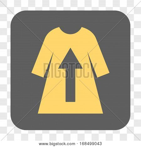 Take Off Female Dress interface toolbar button. Vector icon style is a flat symbol inside a rounded square button yellow and gray colors chess transparent background.