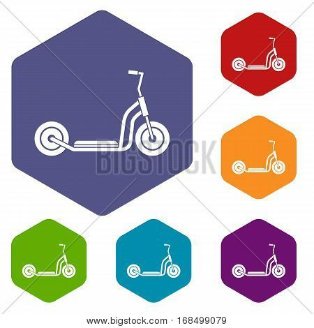 Kick scooter icons set rhombus in different colors isolated on white background
