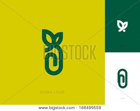 Modern line logo mark template with leaf and paper clip