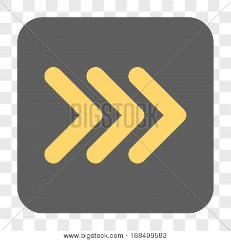 Triple Arrowhead Right interface toolbar button. Vector icon style is a flat symbol on a rounded square button yellow and gray colors chess transparent background.