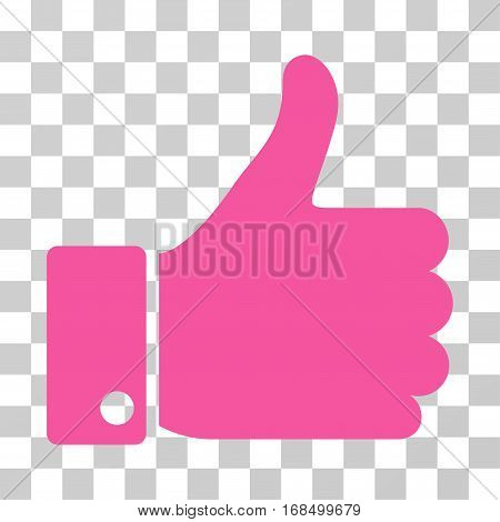 Thumb Up icon. Vector illustration style is flat iconic symbol, pink color, transparent background. Designed for web and software interfaces.