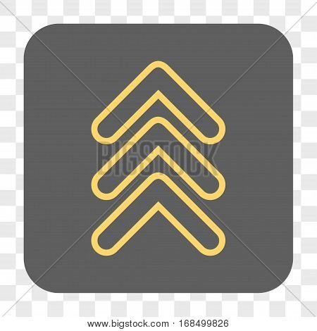 Triple Pointer Up interface toolbar button. Vector icon style is a flat symbol in a rounded square button yellow and gray colors chess transparent background.
