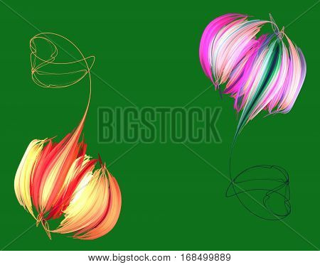 An abstract pink orange peony on green