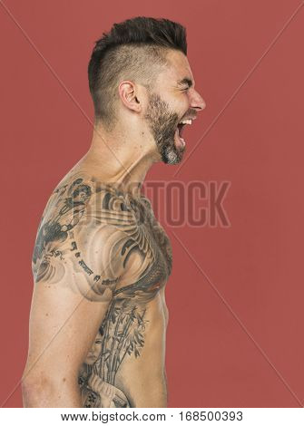 Caucasian Man Tattooed Chest Shouting