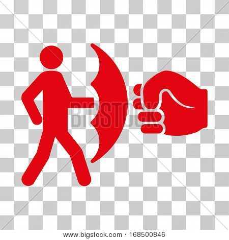 Crime Protection icon. Vector illustration style is flat iconic symbol, red color, transparent background. Designed for web and software interfaces.