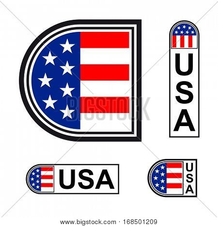 USA flag minimalistic badge symbol vector